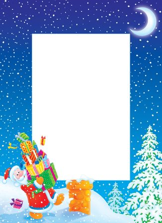 grandfather frost: Christmas photo frame  border with Santa Claus