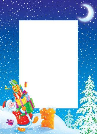 Christmas photo frame / border with Santa Claus Stock Photo - 5919226