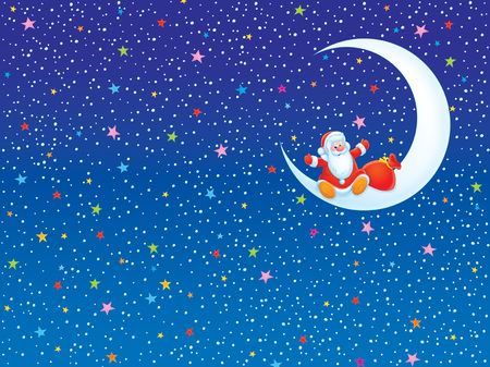 father frost: Christmas background with Santa Claus sitting on a moon Stock Photo