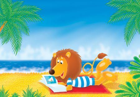 palm reading: Lion on a beach Stock Photo