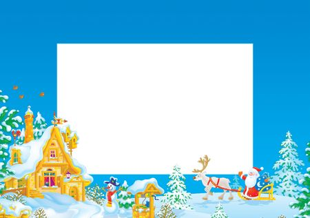Christmas frame / border with Santa Claus Stock Photo - 5940281