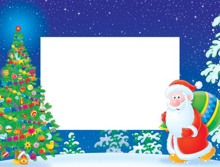 newyear night: Christmas frame  border with Santa Claus