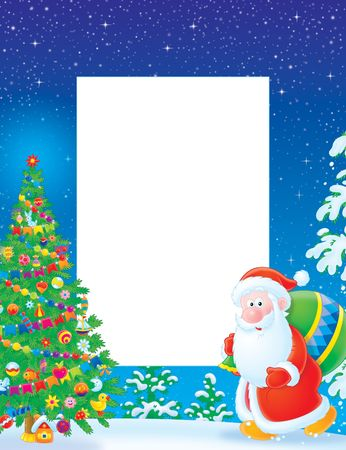 border cartoon: Christmas frame  border with Santa Claus