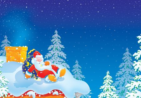 Santa Claus is slightly drunk Stock Photo