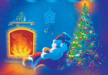 Santa Claus sleeps by the fire Stock Photo