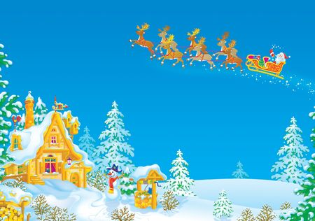 Santa flies in the sledge with reindeers Stock Photo - 5978839
