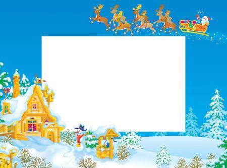 Christmas frame / border with Santa Claus Stock Photo - 5978841
