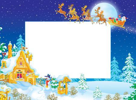 Marco de Navidad  frontera con Santa Claus