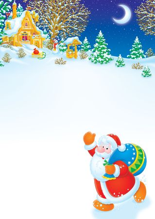 newyear night: Christmas background with Santa and winter landscape