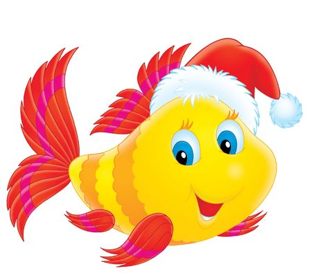 fairytale character: Coral fish wearing a Christmas cap Stock Photo