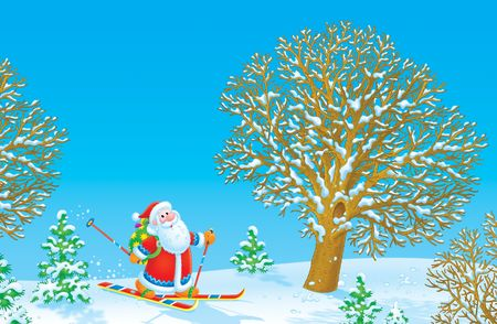 Santa Claus skier Stock Photo - 6000332