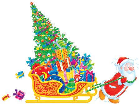 newyear: Santa pulls the sledge with the Christmas tree and gifts Stock Photo