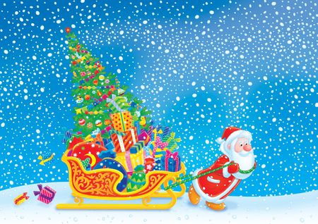 Santa pulls the sledge with the Christmas tree and gifts Stock Photo - 6011431