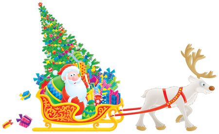 christmastide: Santa sledges with the Christmas tree and gifts Stock Photo