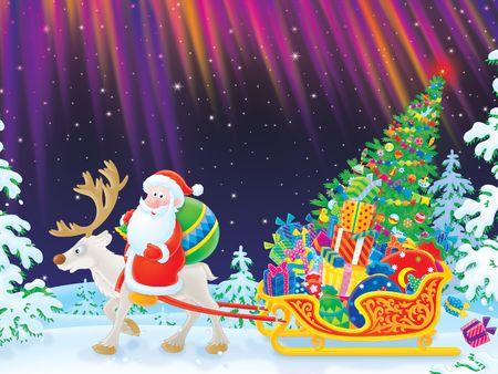 Santa rides on Reindeer dragging the sledge Stock Photo - 6025070