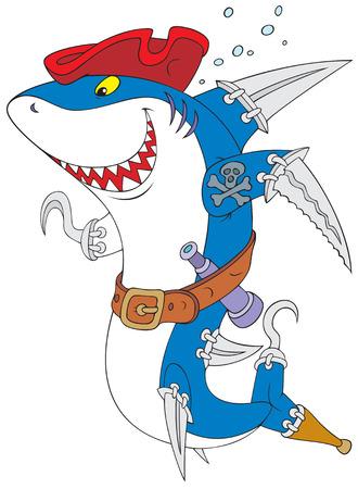 filibuster: Squalo Pirate Vettoriali