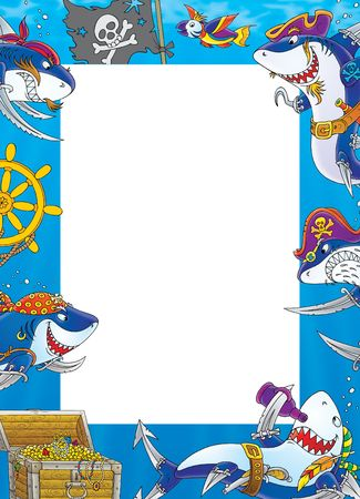 cartoon shark: Border Sharks - Pirates