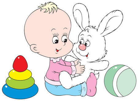 baby playing toy: Child plays with his best friend - white bunny
