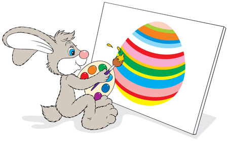 Bunny painting an Easter picture Vector