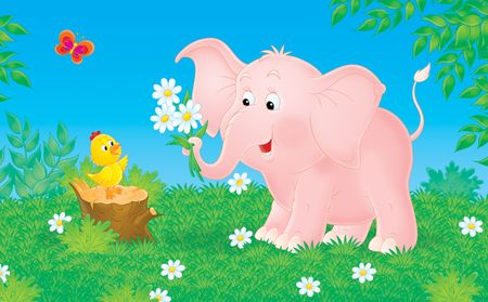 grass plot: Pink elephant and little chick