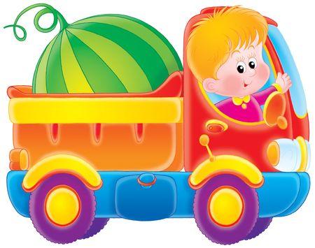 kiddish: Boy drives a truck Stock Photo