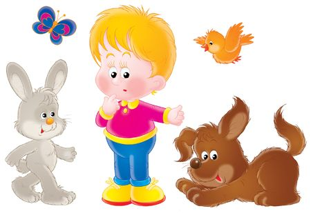 puerile: Boy and his pets Stock Photo