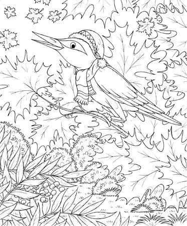 autumn colouring: Singing bird in an autumn forest