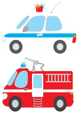 Police car and fire engine Vector