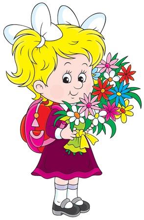 schooldays: Little schoolgirl with satchel and flowers