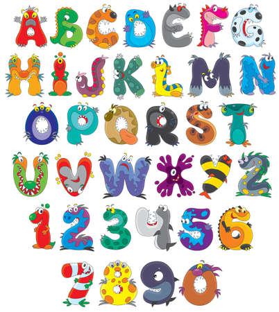 script: English alphabet and numbers with monsters