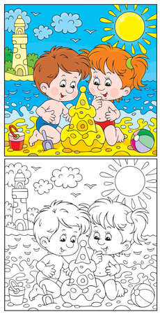 coloring book page: Girl and boy building a sand castle on a beach