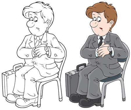 Man sitting on a chair and looking at his watch Vector
