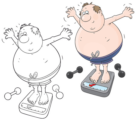 Funny man training for weight loss Vector