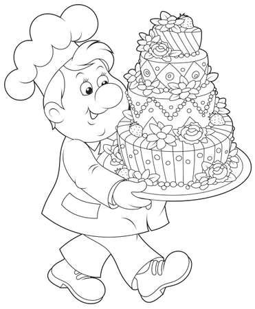 Konditor mit einem Kuchen