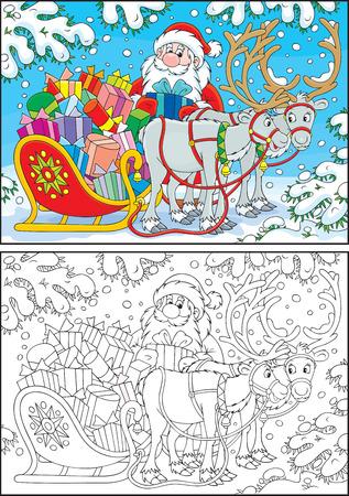 jack frost: Santa Claus carga su trineo con los regalos de Navidad