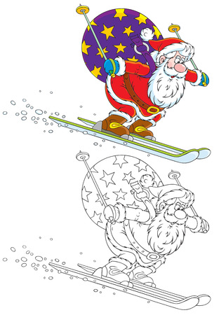 moroz: Santa skiing with Christmas gifts Illustration