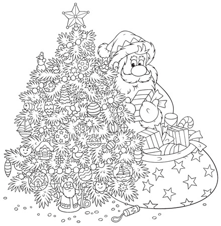 Santa Claus with gifts and Christmas tree Vector