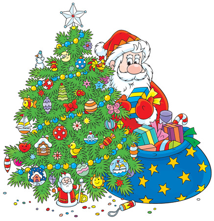Santa puts presents under a Christmas tree Vector