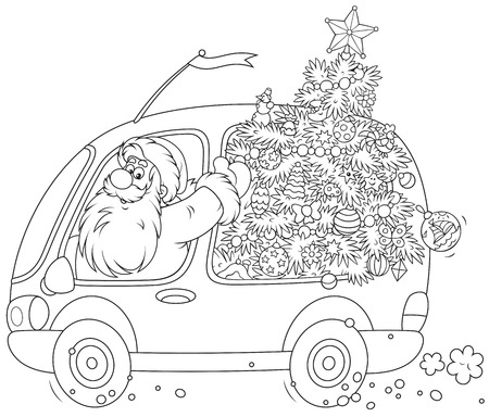 moroz: Santa Claus carrying a decorated Christmas tree