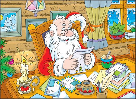 Father Christmas reading letters from children Vector