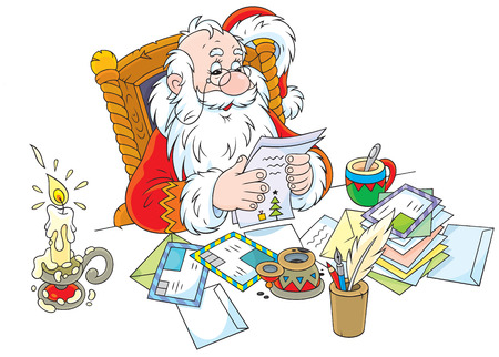 father christmas: Father Christmas reads letters from children Illustration