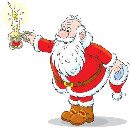 pere noel: Père Noël avec une bougie