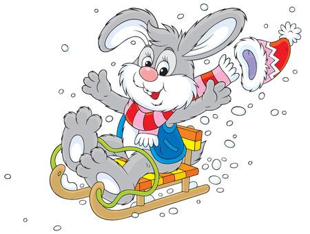 sledding: Merry grey bunny sledding