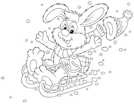 Rabbit sledding Vector