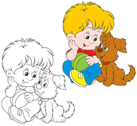 welpe: Kleiner Junge sitzt mit seiner kleinen braunen Welpen
