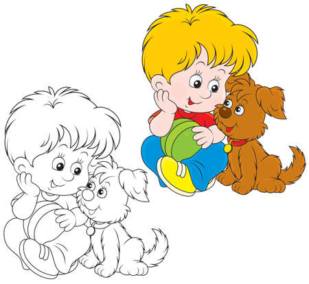 coloring book page: Little boy sitting with his small brown pup Illustration