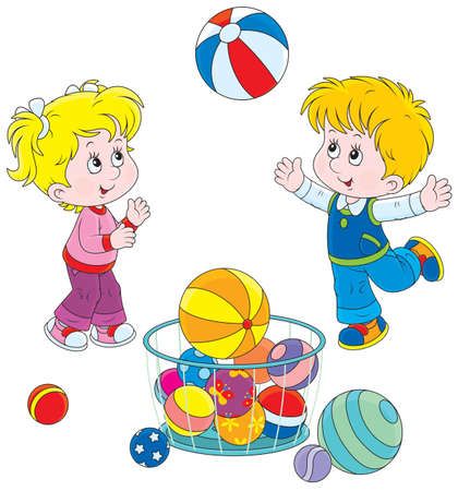 enfant qui joue: Fille et gar�on jouant une grosse boule color�e Illustration