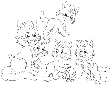 outlined isolated: Little kittens playing