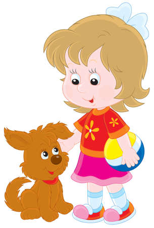 girl playing with her brown puppy Vector