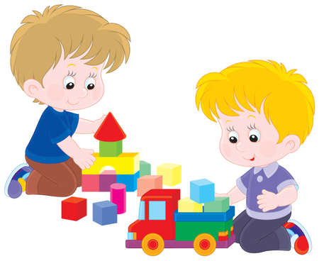 niños jugando caricatura: Niños pequeños que juegan con un camión de juguete y ladrillos